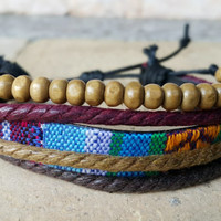 FREE SHIPPING-Men, Woman Bracelet, Multi Color and Strands. Handmade handknotted Hemp Style Country Jewelry, Unisex. 024