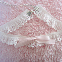 white lace with pink bow choker