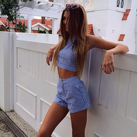 Striped Crop Top and High Waist Shorts Set