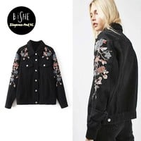 BiSHE Spring Women Streetwear Black Washed Denim Jacket Coat Emboridery Flower Jean Jacket Woman Female Vintage Short Wear