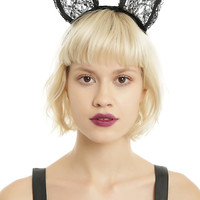 Black Lace Cat Ears Headband