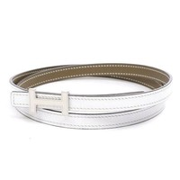 HERMES H Belt Mini Constance Epson White / Etuop SilverHardware A Engraved...