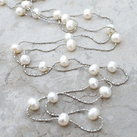 Necklace freshwater pearl silver chain long beaded Layering Soft white champagne pearls Modern minimal Bridal Bridesmaid gift Bride Bohemian