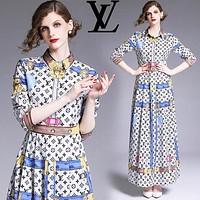 LV Louis Vuitton Autumn Fashion Women Slim Print Long Sleeve Lapel Dress