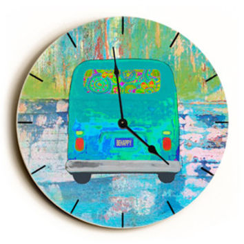 Hippy Bus Unique Wall Clock by Artist Lisa Weedn