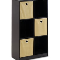 Espresso & Light Brown Storage Organizer Bookcase & Bins