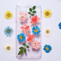 iPhone 5 Case pressed flower clear case for apple iphone 4 4s 5 5s 5c 6 6 plus 6s 6s plus pressed flower iphone case flower phone case