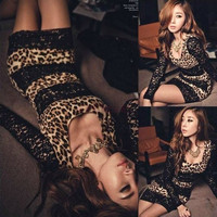 Women's Fashion Leopard Print Trim Party Mini Lace Dress Black one size Vestidos 2664 One Size = 1956677636