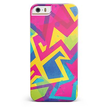 Bright Retro Color-Shapes iPhone 5/5s or SE INK-Fuzed Case