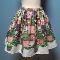 Super CUTE Minecraft Skirt Elastic Waist Size 6-26   Made To Order  2 Week Creation Time