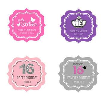 Personalized Sweet 16 or 15 Frame Labels - 24ct - Sweet 16 Party Favors - Favor Bag Labels - Custom Labels - Custom Stickers - Invitation