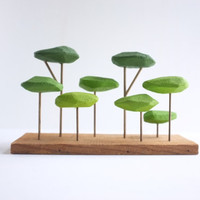 RESERVED - Tabletop stylized forest in shades of green, Japanese garden bonsai feel