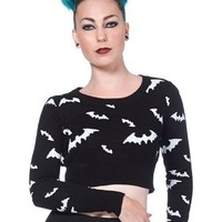 """Women's """"All Over Bats"""" Cropped Sweater by Voodoo Vixen (Black/White)"""