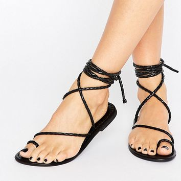 ASOS FIRE FLY Leather Lace Up Flat Sandals at asos.com
