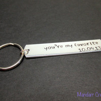 Anniversary Date Keychain, You're My Favorite with Custom Date, Hand Stamped Aluminum Key Chain for Couples