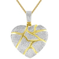 New Men's Broken Heart Love 3D Iced Out Custom Pendant