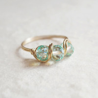Aqua Aurora Ring - unique ring - cute ring - wire wrapped ring