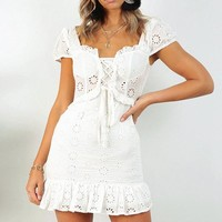Vintage Elegant Embroidery Lace Women Dress Vintage Sexy Dress Lace Up Casual Party Dress