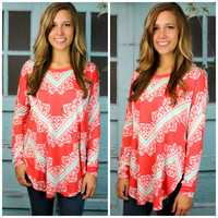 Shining Bright Coral & Turquoise Printed Top