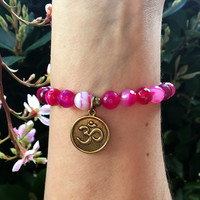 Faceted Pink Agate 'Grounding' Bracelet
