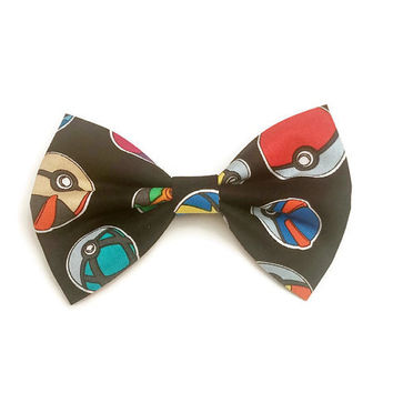 Pokemon Bow • Pokemon Go Bow • Pokeball Bow • Pokemon Gifts • Pikachu Bow • Nintendo Bow • Geeky Gifts • Comic Bow • Cartoon Bow • Girls Bow