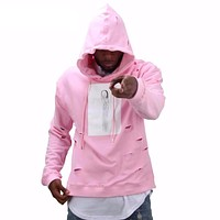 pink hoodies sweat suit tracksuit  with the hole hoodies