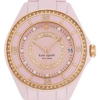 Women's kate spade new york 'seaport grand' crystal enamel bracelet watch, 38mm - Light Pink