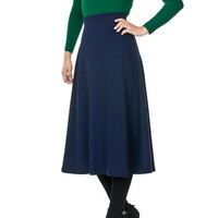 Elastic Waist A-line Flared Long Skirt (S, Black)