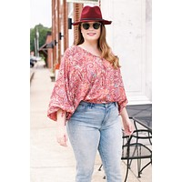 Paisley V-Neck Top, Mauve Mix | Plus Size