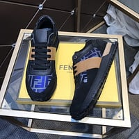2021 FENDI Men's Leather Casual HIGH Top Sneakers Shoes