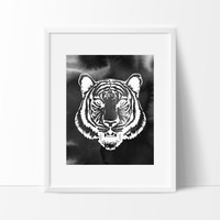 Tiger Head with Brush Strokes in Black, Wall Decor Ideas