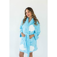 Sherpa Cloud Applique Robe in Crystal Blue