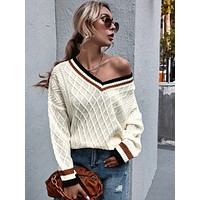 SHEIN V-neck Drop Shoulder Striped Trim Textured Sweater
