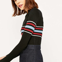 Urban Outfitters Placement Striped Mock Turtleneck Jumper - Urban Outfitters