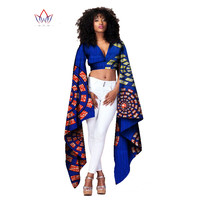 African Bazin Riche Clothes Sexy Women Short Tops t Shirt for Women Crop Top Long Sleeve Fashion Designs Clothes