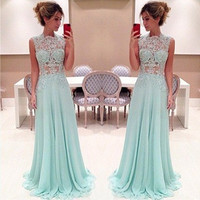 Women Fashion Summer Sexy Elegant Sleeveless Lace Hollow-out Empire Waist Chiffon Evening Ball Gown Long Maxi Dress = 1946208260