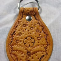 Flower Themed Hand Stamped Leather Key Fob Keychain