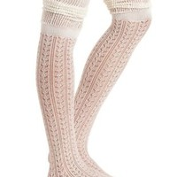 Ivory Combo Two-Tone Pointelle Over-the-Knee Socks by Charlotte Russe