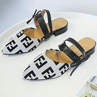 FENDI Hot Sale Women Leisure F Letter Pointed Sandal Slipper Shoes