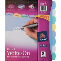 Avery® Durable Poly Write-On Dividers, 8-Tab, 1 Set/Pack | Staples