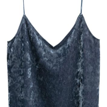 Strappy velour top - Blue-grey - Ladies | H&M GB