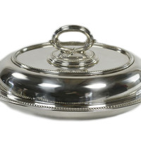Silver Plated Serving Bowl and Lid, Antique English, Early 1900s