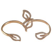 Diamond Gold Leaf Motif Double Finger Ring