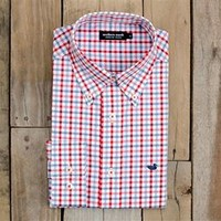 Southern Marsh Evans Gingham Dress Shirt in Red and Blue