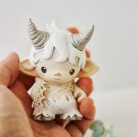 Micro Munny faun in white and tiny squirrel
