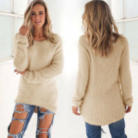Retro Solid Color Knnitted Sweater + Nice Free Christmas Gift