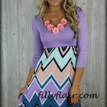 All shook up short chevron dress in lavender - Filly Flair