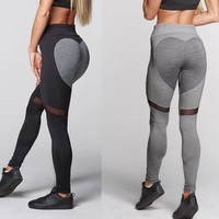Leggings Hot Sale Patchwork Heart Lace Yoga Pants Sportswear [11716828431]