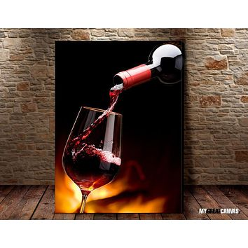 Large Wall Art Filling Red Wine From Wine Bottle Giclee Canvas Art Print Wineglass Art Canvas