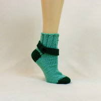 Green Thick Sock Tube House Slipper Button Ribbed Strap Knit